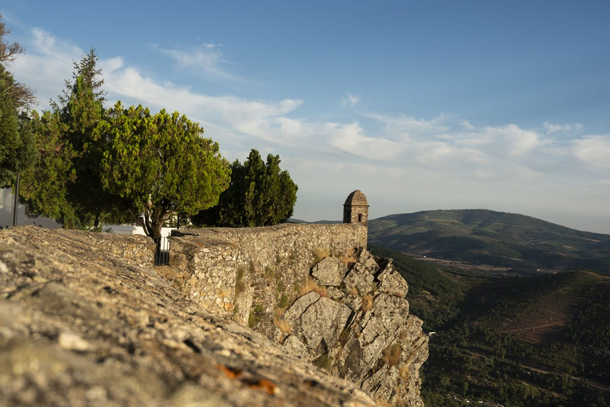 On the top, the fortification wall that surrounds the town of Marvão